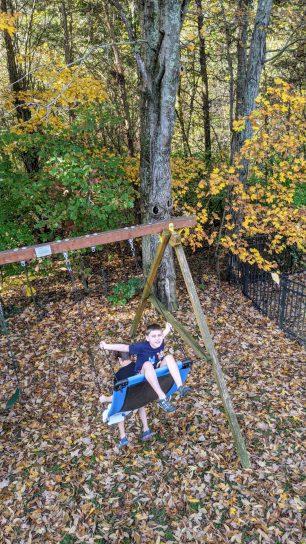 Kids on Swing in Yard